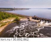 Landscape with concrete dam on river (2019 год). Стоковое фото, фотограф Яков Филимонов / Фотобанк Лори