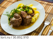 Купить «Stewed lamb with potatoes and mushrooms , served at plate», фото № 30892910, снято 16 июня 2019 г. (c) Яков Филимонов / Фотобанк Лори