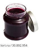 Купить «Blueberry jam in glass jar», фото № 30892954, снято 15 октября 2019 г. (c) Яков Филимонов / Фотобанк Лори