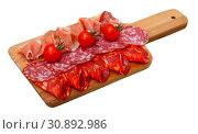Купить «Cold cuts from Spanish ham and sausages», фото № 30892986, снято 18 июля 2019 г. (c) Яков Филимонов / Фотобанк Лори