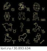 Купить «Набор из 12 знаков зодиака на черном фоне. Астрологические элементы гороскопа. Золотые силуэты зодиакальных символов.», иллюстрация № 30893634 (c) Дорощенко Элла / Фотобанк Лори