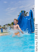 Купить «Little emotional boy in water park rides from slide», фото № 30893818, снято 18 июля 2019 г. (c) Светлана Кузнецова / Фотобанк Лори