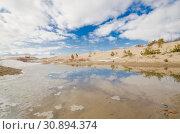 Купить «Отражение неба в воде среди песчаных дюн», фото № 30894374, снято 27 апреля 2019 г. (c) Яковлев Сергей / Фотобанк Лори
