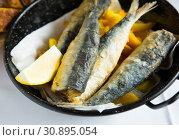 Купить «Fish snack - sardines in Andalusian marinade», фото № 30895054, снято 28 ноября 2018 г. (c) Яков Филимонов / Фотобанк Лори
