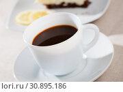 Купить «Coffee with chocolate dessert», фото № 30895186, снято 26 июня 2019 г. (c) Яков Филимонов / Фотобанк Лори