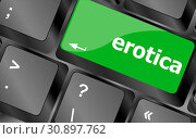 Купить «Erotica button on computer pc keyboard key», фото № 30897762, снято 27 июня 2019 г. (c) easy Fotostock / Фотобанк Лори