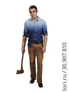 Купить «Handsomel possessed man in a trance holding an axe», фото № 30907810, снято 12 декабря 2016 г. (c) easy Fotostock / Фотобанк Лори