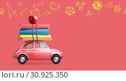 Купить «Back to school car animation», видеоролик № 30925350, снято 1 июня 2019 г. (c) Сергей Петерман / Фотобанк Лори
