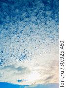 Купить «Sunset colorful sky background - blue dramatic colorful clouds lit by evening sunshine», фото № 30925450, снято 15 октября 2015 г. (c) Зезелина Марина / Фотобанк Лори