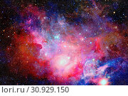 Купить «Colored nebula and open cluster of stars in the universe. Elements of this image furnished by NASA.», фото № 30929150, снято 12 июля 2020 г. (c) easy Fotostock / Фотобанк Лори