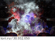 Купить «Nebula and galaxy in space. Elements of this image furnished by NASA.», фото № 30932050, снято 12 июля 2020 г. (c) easy Fotostock / Фотобанк Лори