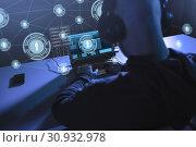 Купить «hacker with network using laptop computer», фото № 30932978, снято 9 ноября 2017 г. (c) Syda Productions / Фотобанк Лори
