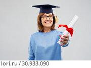 Купить «happy senior graduate student woman with diploma», фото № 30933090, снято 8 февраля 2019 г. (c) Syda Productions / Фотобанк Лори