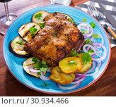 Купить «Roasted pork carre with vegetables», фото № 30934466, снято 22 июля 2019 г. (c) Яков Филимонов / Фотобанк Лори