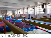 Купить «Various gymnastic equipment at acrobatic center», фото № 30934502, снято 14 июня 2019 г. (c) Яков Филимонов / Фотобанк Лори