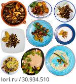Купить «Delicious different dish with mushrooms cooked at clay pots and plates», фото № 30934510, снято 16 июня 2019 г. (c) Яков Филимонов / Фотобанк Лори
