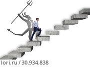 Купить «Businessman with alter ego climbing career ladder», фото № 30934838, снято 14 октября 2019 г. (c) Elnur / Фотобанк Лори