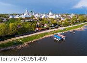 Купить «Aerial view of district of Rostov-on-don on riverside with church», фото № 30951490, снято 9 мая 2019 г. (c) Яков Филимонов / Фотобанк Лори