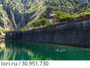 Wall of city fortress in Kotor, Montenegro. UNESCO World Heritage Site (2019 год). Стоковое фото, фотограф Володина Ольга / Фотобанк Лори