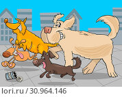 Cartoon Illustration of Funny Running Dogs Animal Characters Group. Стоковое фото, фотограф Zoonar.com/Igor Zakowski / easy Fotostock / Фотобанк Лори