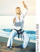 Купить «Sportsman is practicing karate moves», фото № 30970426, снято 19 июля 2017 г. (c) Яков Филимонов / Фотобанк Лори