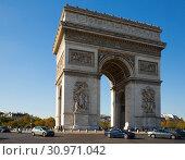 Купить «Arc de Triomphe on Place de l Etoile, Paris», фото № 30971042, снято 10 октября 2018 г. (c) Яков Филимонов / Фотобанк Лори