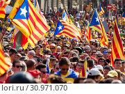 Купить «Rally demanding independence for Catalonia», фото № 30971070, снято 11 сентября 2014 г. (c) Яков Филимонов / Фотобанк Лори