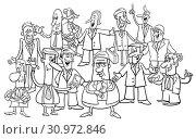 Black and White Cartoon Illustration of Businessmen and Managers Group. Стоковое фото, фотограф Zoonar.com/Igor Zakowski / easy Fotostock / Фотобанк Лори