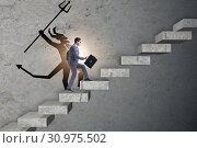 Купить «Businessman with alter ego climbing career ladder», фото № 30975502, снято 16 октября 2019 г. (c) Elnur / Фотобанк Лори