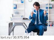 Купить «Businessman rejecting new ideas with lots of papers», фото № 30975954, снято 13 февраля 2019 г. (c) Elnur / Фотобанк Лори
