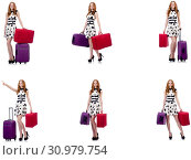 Купить «Beautiful woman in polka dot dress with suitcases isolated on wh», фото № 30979754, снято 25 февраля 2020 г. (c) Elnur / Фотобанк Лори