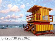 Купить «Florida, Miami Beach, lifeguard station, Atlantic Ocean, sand,», фото № 30985962, снято 3 апреля 2015 г. (c) age Fotostock / Фотобанк Лори