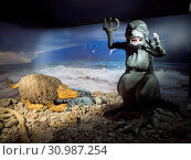 Sea monster in the Icelandic Sea Monster Museum Skrimslasetur. Bildudalur at fjord Sudurfjirdir. The remote Westfjords (Vestfirdir) in north west Iceland. Europe, Scandinavia, Iceland. Стоковое фото, фотограф Martin Zwick / age Fotostock / Фотобанк Лори