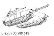Купить «Blueprint or sketch of realistic tank. 3d illustration», фото № 30989618, снято 28 мая 2020 г. (c) easy Fotostock / Фотобанк Лори
