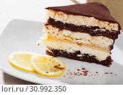 Купить «Delicious layer lemon сhocolate сake сloseup», фото № 30992350, снято 19 октября 2019 г. (c) Яков Филимонов / Фотобанк Лори