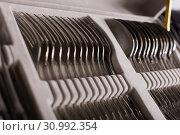 Купить «Photo of set of silverware in the box», фото № 30992354, снято 2 мая 2018 г. (c) Яков Филимонов / Фотобанк Лори