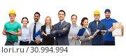 Купить «group of office people and manual workers», фото № 30994994, снято 21 января 2020 г. (c) Syda Productions / Фотобанк Лори