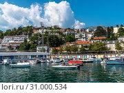 Купить «Herceg Novi, Montenegro - June 10. 2019. Panorama of the city from the sea», фото № 31000534, снято 10 июня 2019 г. (c) Володина Ольга / Фотобанк Лори