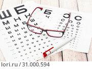 Проверка остроты зрения. Очки, ручка и таблицы для проверки зрения. Стоковое фото, фотограф Наталья Осипова / Фотобанк Лори