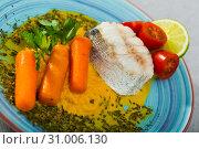 Купить «Hake with vegetable pate», фото № 31006130, снято 17 июля 2019 г. (c) Яков Филимонов / Фотобанк Лори