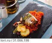 Купить «Scomber fish roll with bacon», фото № 31006198, снято 25 января 2020 г. (c) Яков Филимонов / Фотобанк Лори