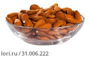 Купить «Image of roasted salt almonds on glass bowl, nobody», фото № 31006222, снято 16 июля 2019 г. (c) Яков Филимонов / Фотобанк Лори