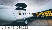 Купить «heliopter inside hangar russian civil», фото № 31010282, снято 7 июня 2019 г. (c) Mark Agnor / Фотобанк Лори
