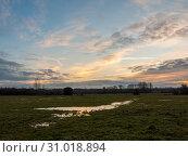 Купить «Empty wet grass field low light sunset landscape dedham plain empty no people dramatic sky trees, essex, england, uk», фото № 31018894, снято 16 декабря 2017 г. (c) easy Fotostock / Фотобанк Лори