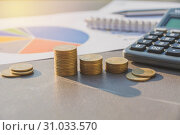 Купить «Stock financial indices with stack coin and calculator. Financial stock market in accounting market economy analysis.», фото № 31033570, снято 6 января 2018 г. (c) easy Fotostock / Фотобанк Лори