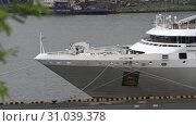 Купить «Nose of white Cruise Liner Le Soleal at pier in Sea Port», видеоролик № 31039378, снято 25 июня 2019 г. (c) А. А. Пирагис / Фотобанк Лори