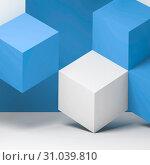 Купить «White blue cubes geometric art», иллюстрация № 31039810 (c) EugeneSergeev / Фотобанк Лори
