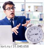 Купить «Businessman with giant clock failing to meet deadlines and missi», фото № 31040658, снято 18 сентября 2017 г. (c) Elnur / Фотобанк Лори
