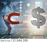 Купить «Businessman catching dollars on horseshoe magnet», фото № 31044390, снято 17 февраля 2020 г. (c) Elnur / Фотобанк Лори