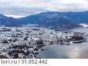 Aerial View of Lake Kawaguchiko at Fujikawaguchiko Japan. Стоковое фото, фотограф YAY Micro / easy Fotostock / Фотобанк Лори